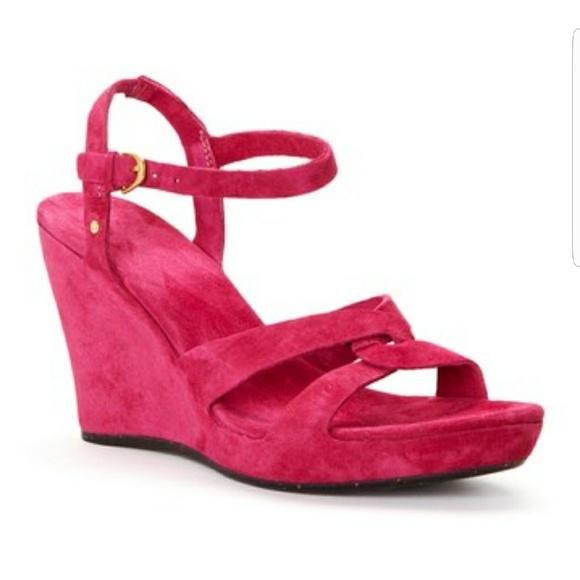 Ugg Bright Pink Arianna Wedges Sz 55